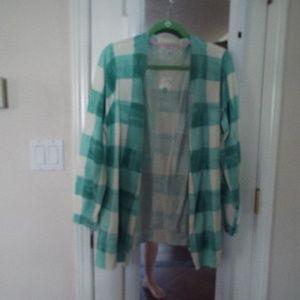 NWT Isaac Mizrahi green check cardigan